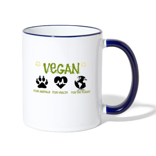Vegan for animals, health and the environment. - Taza en dos colores