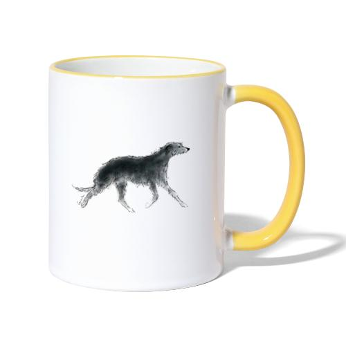 Deerhound in Aquarell - Tasse zweifarbig