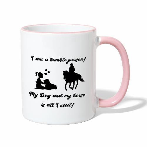 Pferd und Hund T-Shirt Reitbegleiter - Tasse zweifarbig