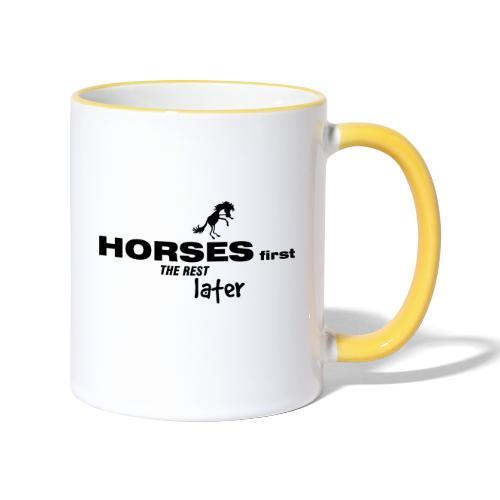 horsesfirst2 - Tasse zweifarbig