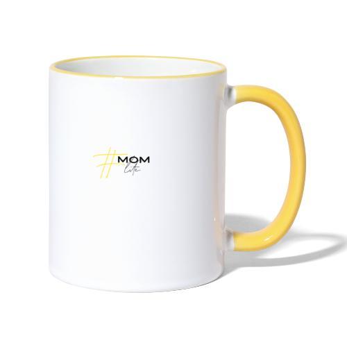mom life gelb/schwarz - Tasse zweifarbig
