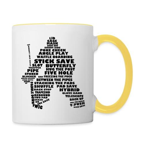 Language of Hockey (Goalie version, black print) - Contrasting Mug