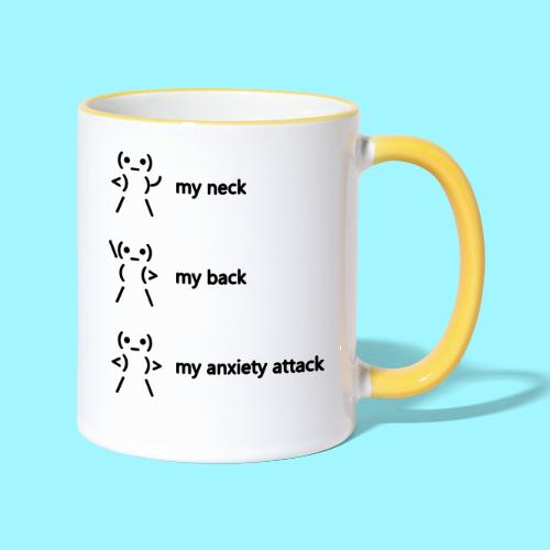 neck back anxiety attack - Contrasting Mug