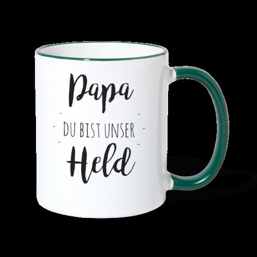 Papa du bist unser Held - Tasse zweifarbig