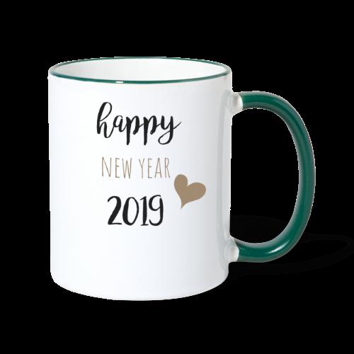 Happy New Year 2019 - Tasse zweifarbig