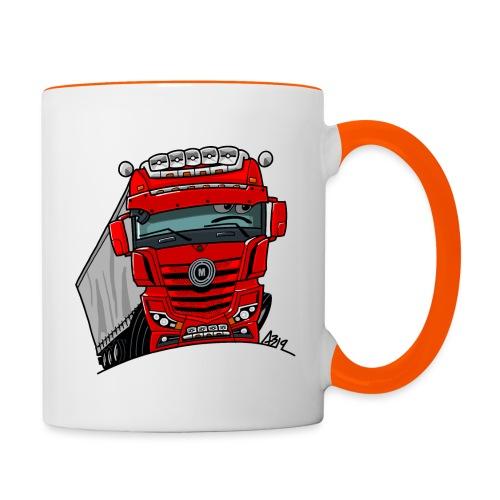 0807 M truck rood trailer - Mok tweekleurig