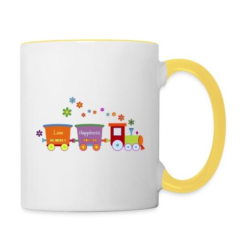 Eisenbahn Kinderspielzeug Zug Frühlingsblumen bunt - Contrasting Mug