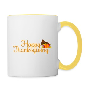 Happy Thanksgiving Words - Contrasting Mug