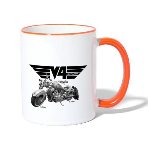 V4 Motorcycles black Wings - Tasse zweifarbig