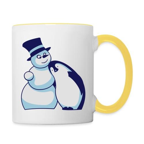 Schneemann und Pinguin - Tasse zweifarbig