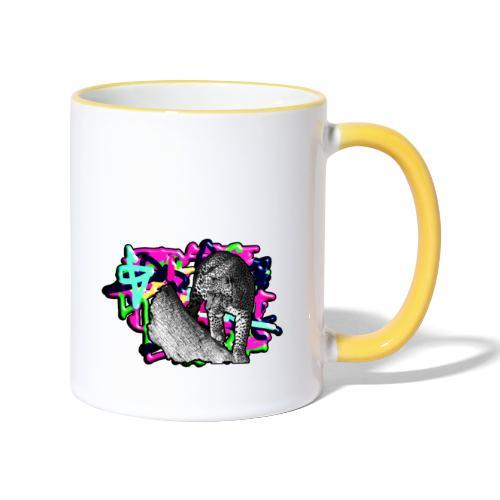 Leopard auf Bunt - Tasse zweifarbig