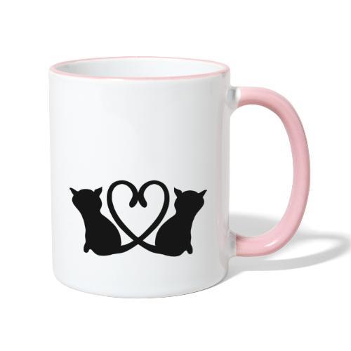 Katzen bilden ein Herz mit ihren Schwänzen - Tasse zweifarbig