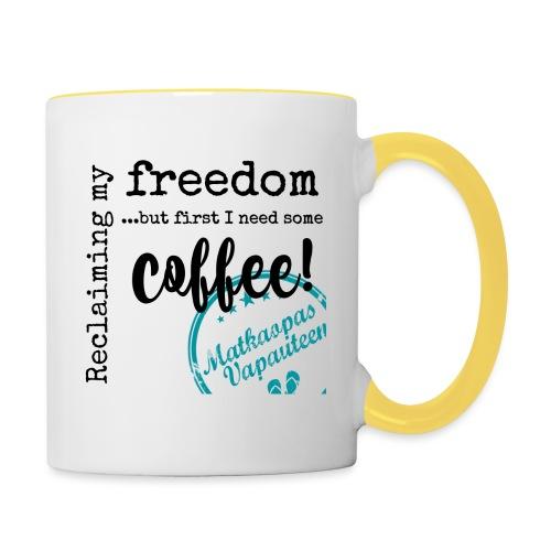 Kahvimuki Matkaopas Vapauteen, turkoosi - Kaksivärinen muki