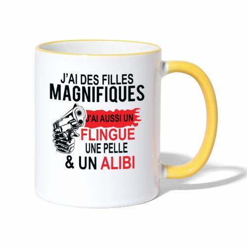 J'AI DEUX FILLES MAGNIFIQUES Best t-shirts 25% - Mug contrasté