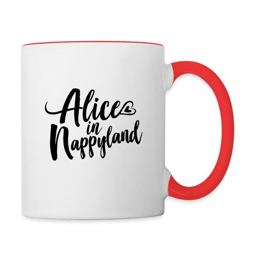 Alice in Nappyland Typography Black 1080 1 - Contrasting Mug