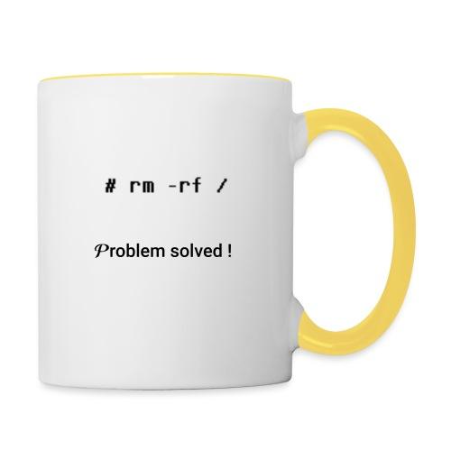 rm -rf Problem Solved - noir - Mug contrasté