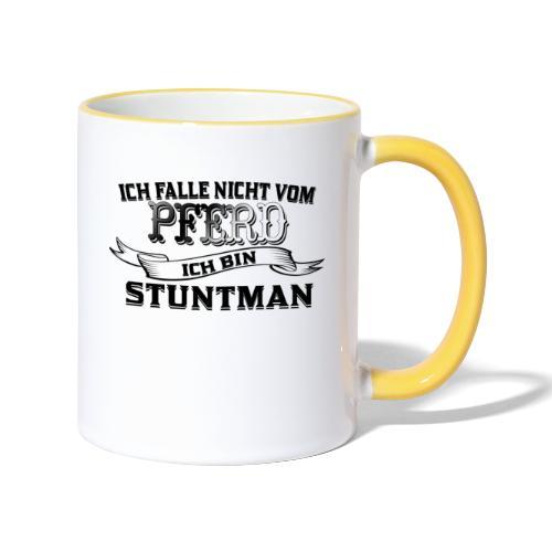Ich falle nicht vom Pferd ich bin Stuntman Reiten - Tasse zweifarbig