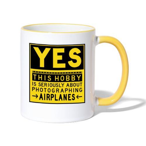 Mitä lentosuunnittelu tarkoittaa - esiliinamerkki - Kaksivärinen muki