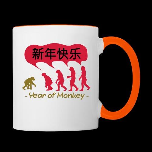 kung hei fat choi monkey - Contrasting Mug