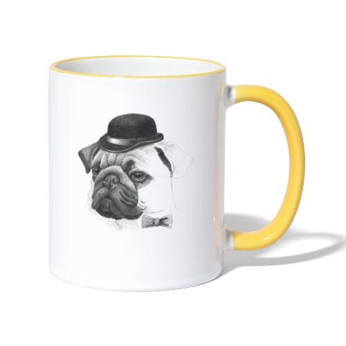 pug with bowler - Tofarvet krus