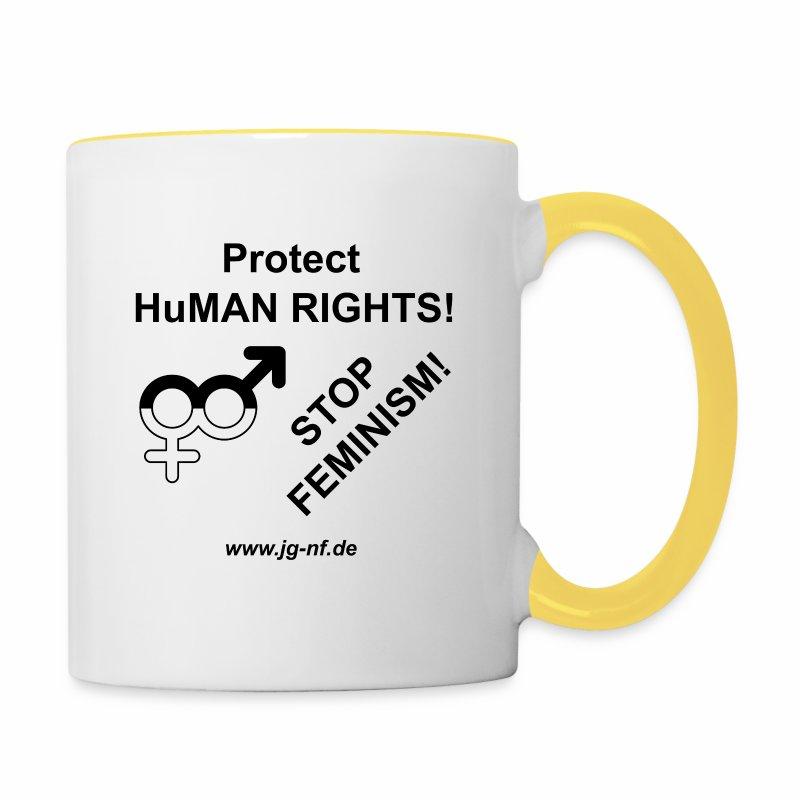 Protect HuMAN Rights - Stop Feminism - Tasse zweifarbig