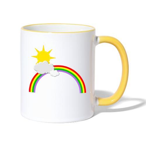 Regenbogen, Sonne, Wolken - Tasse zweifarbig