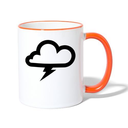Wolke mit Blitz - Tasse zweifarbig