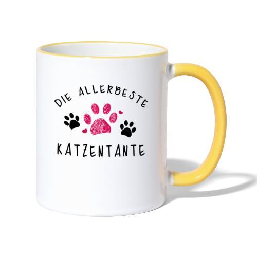 Die allerbeste Katzentante - Tasse zweifarbig