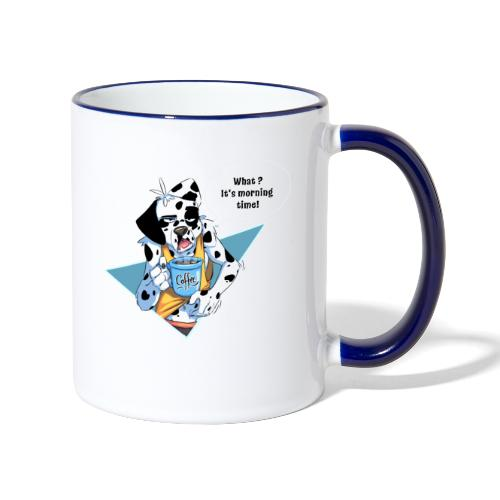 Dalmatian with his morning coffee - Contrasting Mug