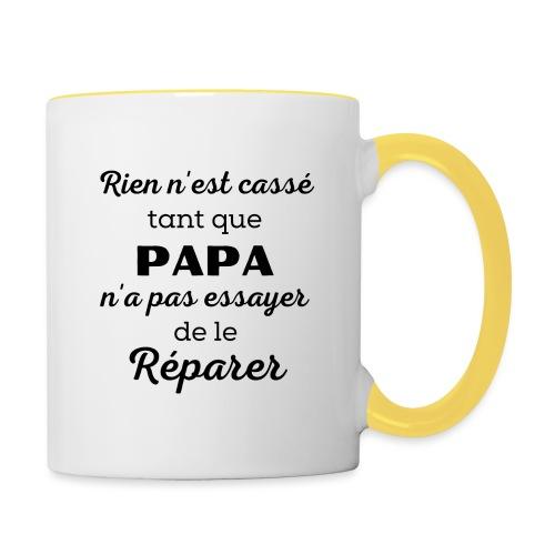 t-shirt papa rien cassé papa pas essayer réparer - Mug contrasté