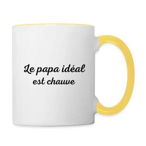 t-shirt fete des pères le papa idéal est chauve - Mug contrasté