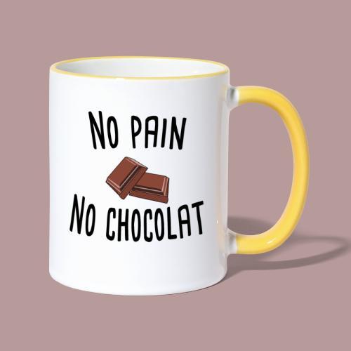 No pain no chocolat citation drôle - Mug contrasté