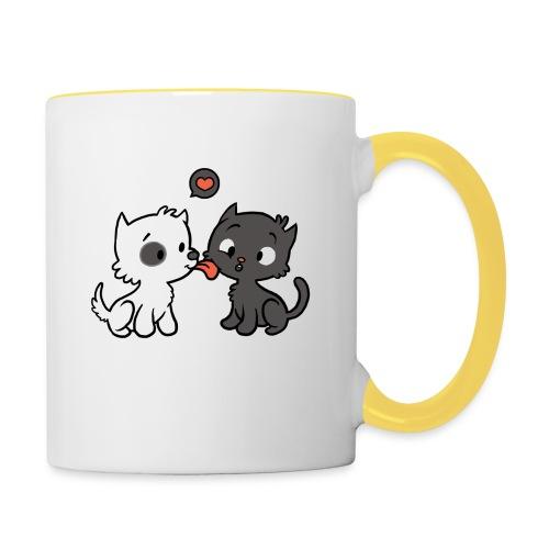 Hund liebt Katze - Tasse zweifarbig