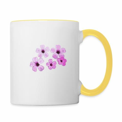 Blumen violett - Tasse zweifarbig