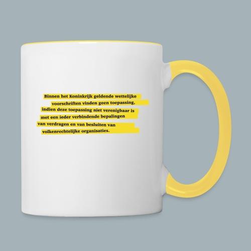 Nederlandse Grondwet T-Shirt - Artikel 94 - Mok tweekleurig
