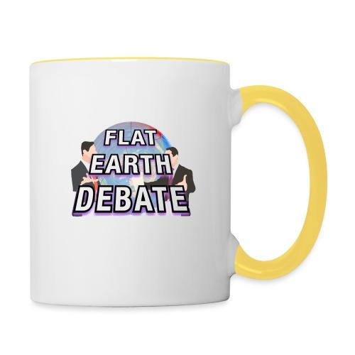 Flat Earth Debate Solid - Contrasting Mug