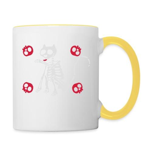 Katzen Skelett - Tasse zweifarbig