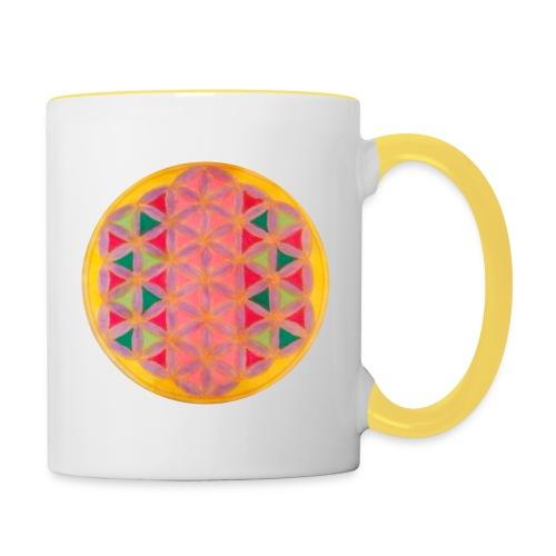 Blume des Lebens - Tasse zweifarbig
