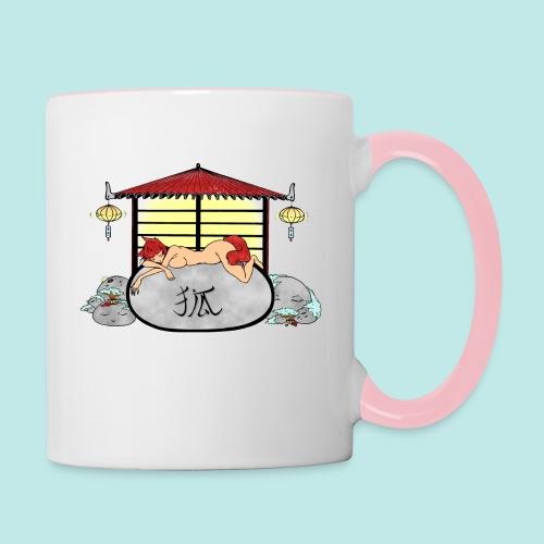 Déesse renard Inari jardin zen temple japonais - Mug contrasté