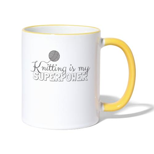 Knitting Is My Superpower - Contrasting Mug