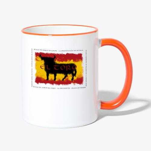 Spain Flag with bull - Tasse zweifarbig
