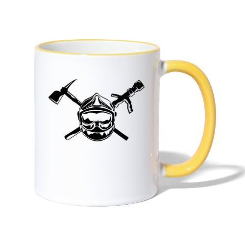 casque_pompier_hache et lance - Mug contrasté