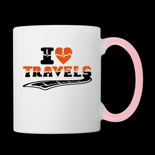 i love travels surprises 2 col - Contrasting Mug