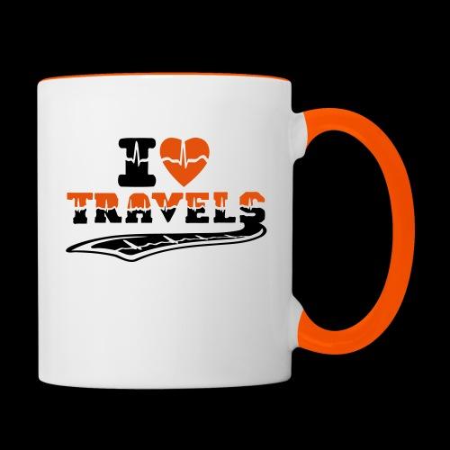 i love travels surprises 2 col - Contrasting Mug