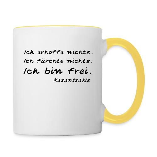 Kazantzakis - Ich bin frei! - Tasse zweifarbig