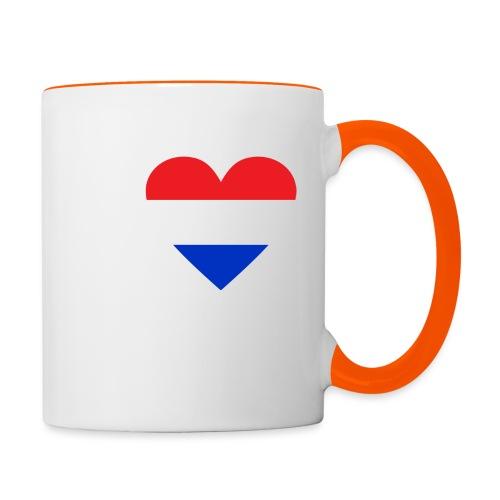 Ik hou van Nederland | Hart met rood wit blauw - Mok tweekleurig