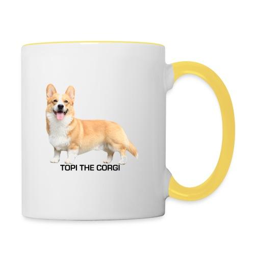 Topi the Corgi - Black text - Contrasting Mug
