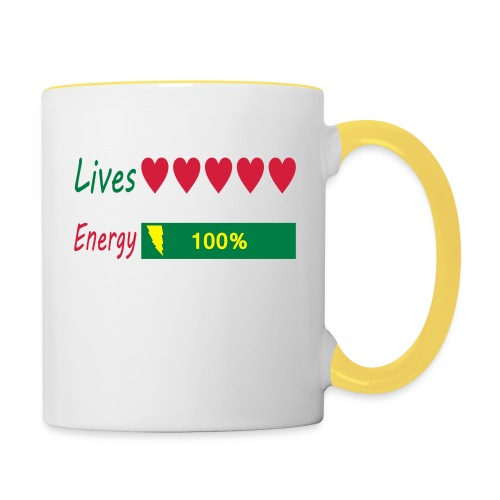 5 lives and 100% energy - Tasse zweifarbig