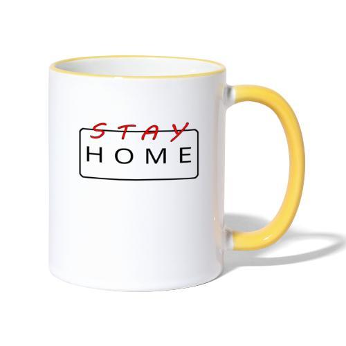 stay home rot/schwarz - Tasse zweifarbig