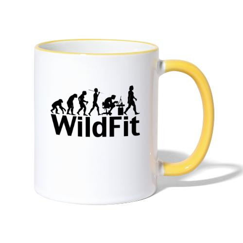 WildFit Logo Evolution in Schwarz - Tasse zweifarbig